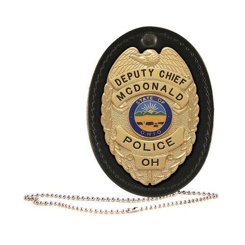 Boston Leather Oval Badge Holder, Hook And Loop Closure - Style 5888CH-1