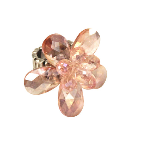 Pink Expandable Crystal Flower Ring