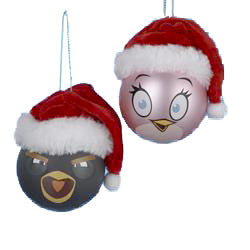 60MM Angry Birds  Shatterproof Ball Ornaments, 2 Assorted