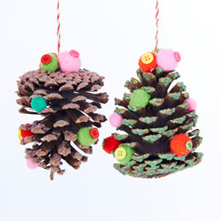Pinecone With Pom Pom & Button Christmas Ornaments 2 Assorted (Set Of 12)