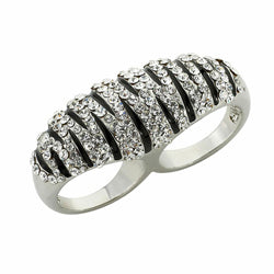 Black/Clear Rhinestone Double Finger Zebra Ring (Medium)