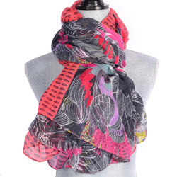Pink And Black Parrot Design Scarf