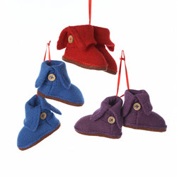 Ladies Fabric Boots Christmas Ornaments  (Set Of 12)