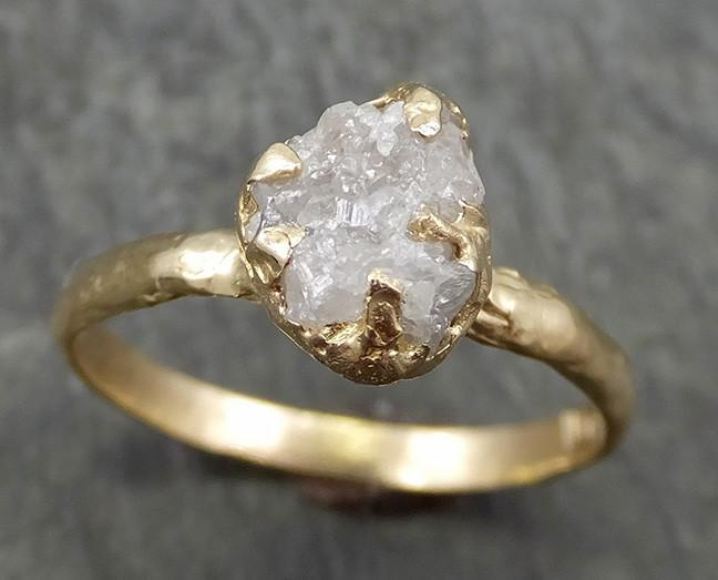 Raw Diamond Engagement Ring Rough Uncut Diamond Solitaire Recycled 14k gold Conflict Free Diamond Wedding Promise 0632 - Gemstone ring by Angeline