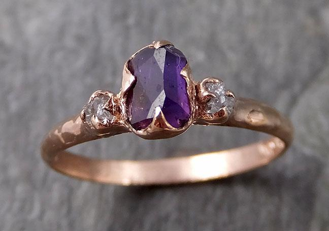 Partially faceted Raw Sapphire Diamond 14k rose Gold Dainty Engagement Ring Wedding Ring Custom One Of a Kind Gemstone Ring Three stone Ring 1122