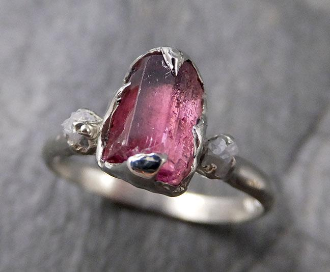 Raw Pink Tourmaline Diamond 14k white Gold Engagement Ring Wedding ring Gemstone Ring Multi stone Ring byAngeline 1303