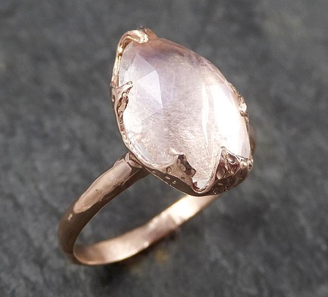 Fancy cut Moonstone Rose Gold Ring Gemstone Solitaire recycled 14k statement cocktail statement 1483
