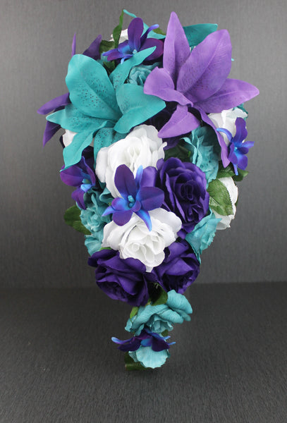 Cascading Purple & Turquoise Brides Bouquet