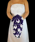 Purple Cascading Rose & Calla Lily Brides Bouquet