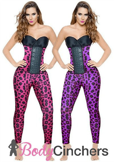 Purple Animal Print Long Workout Waist Trainer