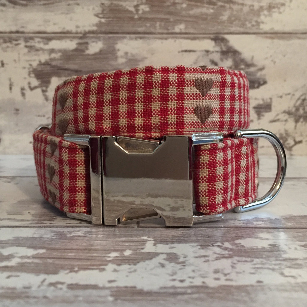 The Black Dog Company Handmade Dog Collars Chequered Red Hearts - Dog Collar