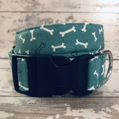 The Black Dog Company Handmade Dog Collars Extra Small / Plastic / Navy **NEW** Bones - Dog Collar
