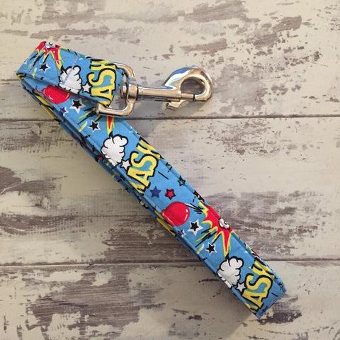 The Black Dog Company Handmade Dog Leads Pow Bang Smash - Blue - Dog Lead