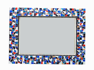 Large Colorful Wall Mirror, Rectangular Mosaic Mirror, Green Street Mosaics
