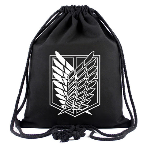 Games Movies Attack on Titan Backpack Japanese Anime Designer Canvas Drawstring Bags for Men Women Travel Organizer Pouch Gifts Happy Goods Store 1