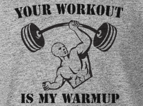 Trendy Pop Culture Hipster Gym Rat body builder football Your Workout is my warmup Graphic Tee t-shirt tshirt Unisex Ladies Gray - Animetee - 2