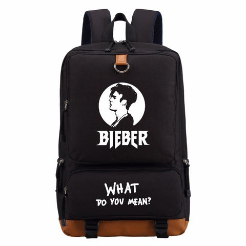 2017 justin bieber backpack fashion casual backpack teenagers Men women's Student School Bags travel Shoulder Bag Laptop Bags