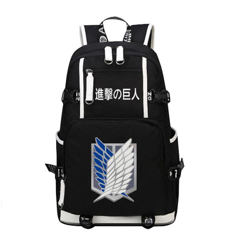 Japanese Anime Bag Fashion Rucksack Canvas men Backpack  Attack on Titan Scout Legion Military Police Cos Printing School Bags women Mochila AT_59_4