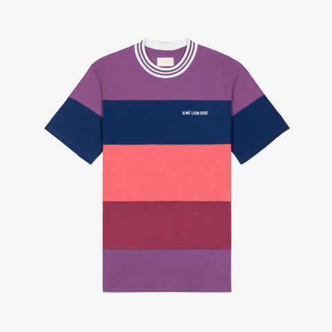STRIPED RIBBED COLLAR TEE - PURPLE