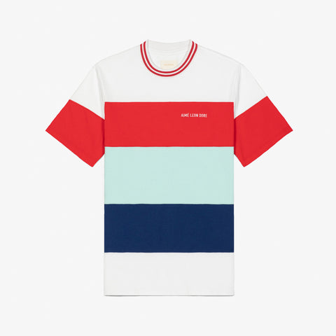 STRIPED RIBBED COLLAR TEE - WHITE