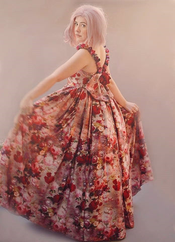 Floral Red Vintage Girls Couture Dress