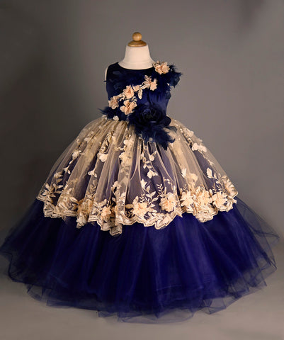 Navy Blue Tulle Couture Dress Girls