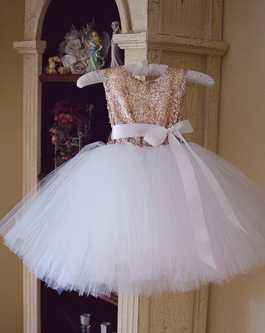 champagne/white tutu girls dress