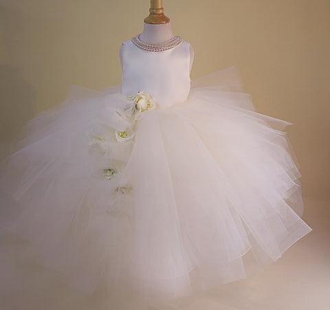 flower girl dress ivory tulle