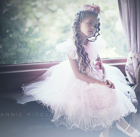 Annabelle  Girls Ostrich Feather Dress - MelissaJane Designs