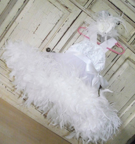 Angel From Heaven White Rosette Feather Dress - MelissaJane Designs