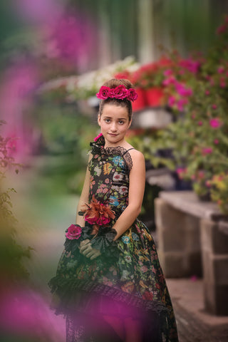 Annabelle - Floral Silk Organza Print High Low Girls Dress - MelissaJane Designs