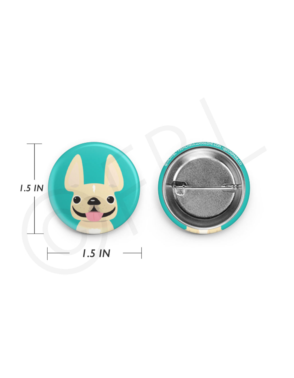 Mini French Bulldog Button - 1.5 inch - Cream