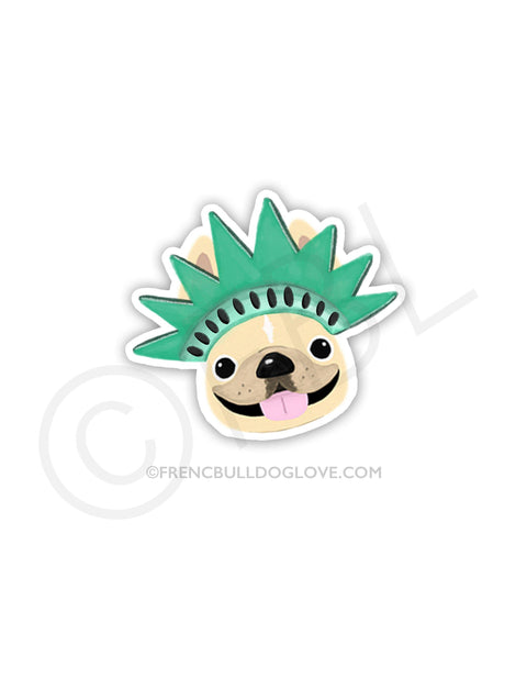 #100DAYPROJECT - STATUE OF LIBERTY VINYL FRENCH BULLDOG STICKER