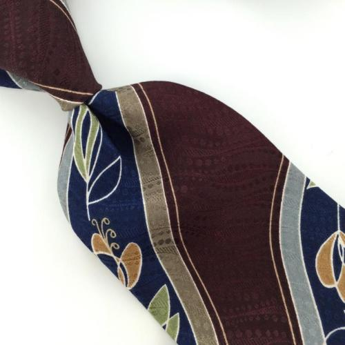CONTE DI MILANO US MADE NAVY BLUE FLORAL BROWN Silk Classic Necktie I2-130 Ties