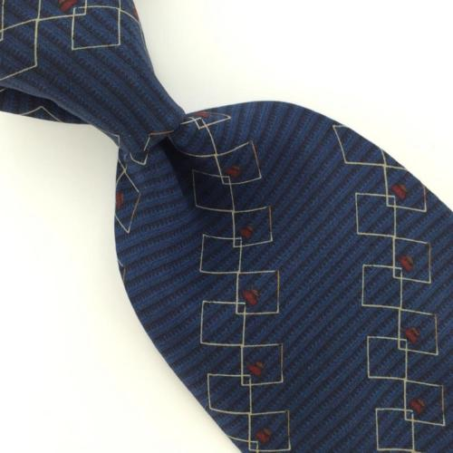 BILL BLASS Linked Squares NAVY BLUE Red Silk Men Necktie I1-603 Excellent Ties