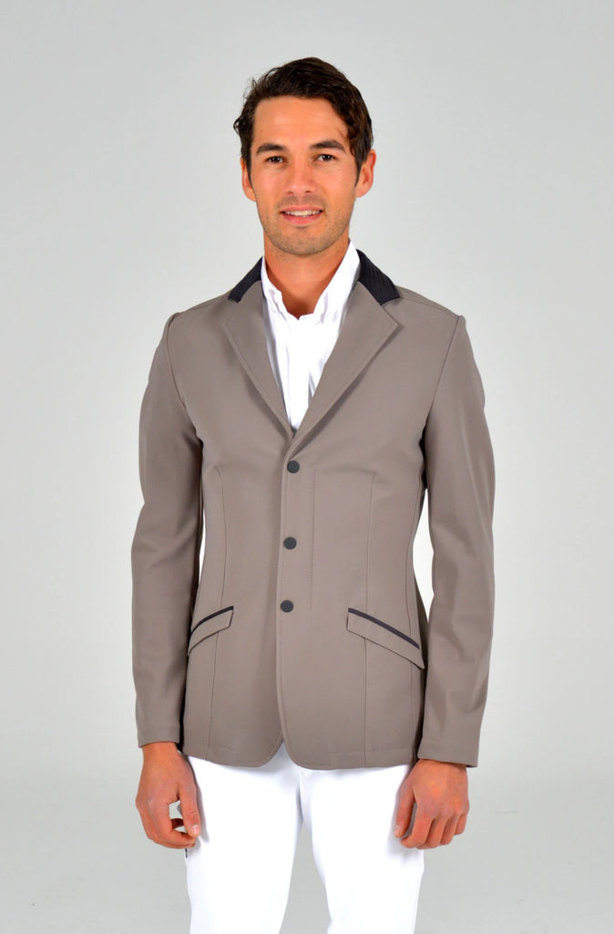 Embossed Line Zip Jacket - Dove Grey