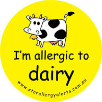 I'm allergic to dairy, badge and sticker pack
