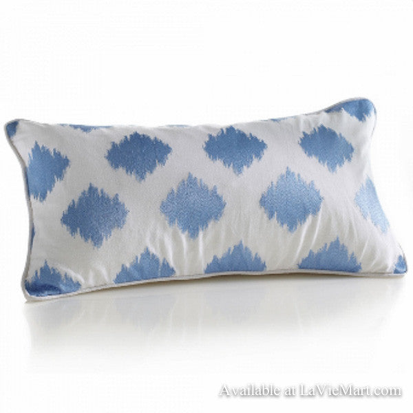 Blue Embroidered Pillow