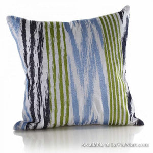 Blue Embroidered Zig Zag Pillow