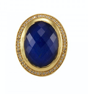 Anthony Cocktail Ring Gold Lapis White CZ