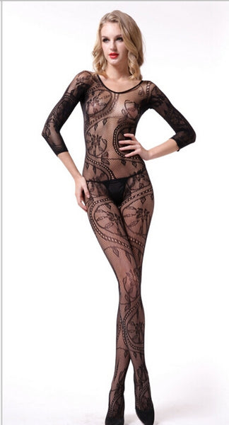 ItspleaZure Body Stocking ItspleaZure Swirl and Floral Lace Open Crotch Body Stocking