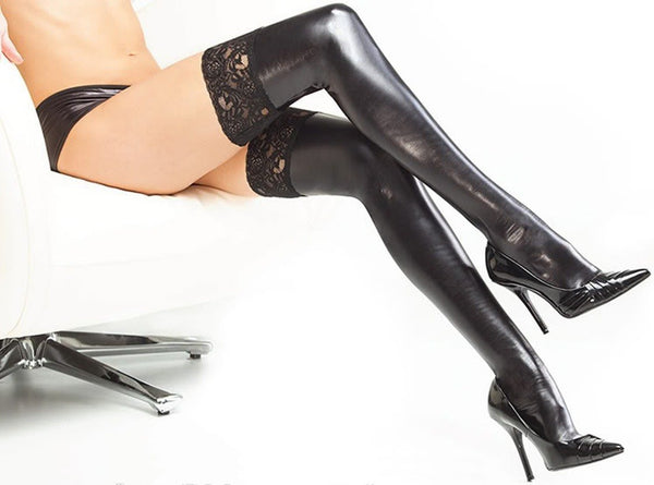 ItspleaZure Stocking ItspleaZureSexy Black Wet Look Stockings