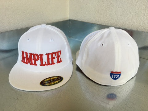AMPLIFE Flex Fit Flat Bill White and Red - Amputee Life® Clothing