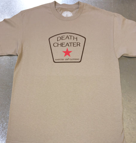 DEATH CHEATER ALL STAR T-SHIRT Khaki T-Shirt - Amputee Life® Clothing