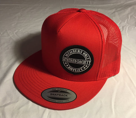 Members Only Severed Society Snap Back Trucker Hat Red