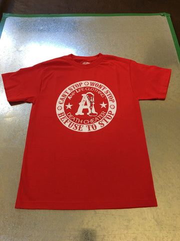 AMPLIFE DEATH CHEATER Red & White T-shirt - Amputee Life® Clothing