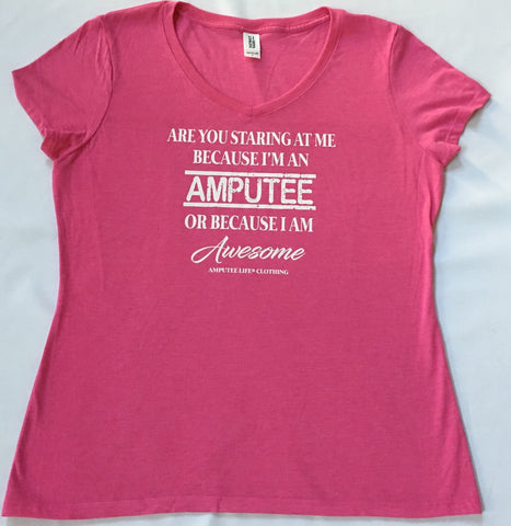 AMPUTEE AND AWESOME Ladies Pink V-Neck With White Print