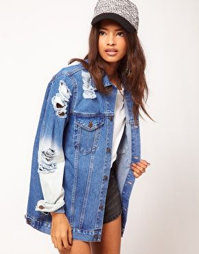Asos Rip/Bleached Denim Jacket Sz:4