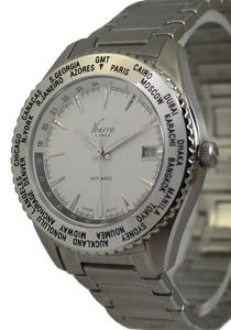 SALVADOR 40MM WORLD TIMER AUTOMATIC STEEL DRESS WATCH (WHITE DIAL)