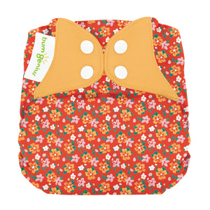 bumGenius Elemental Organic Cotton All In One Diaper, shown in pepper red, made in the USA